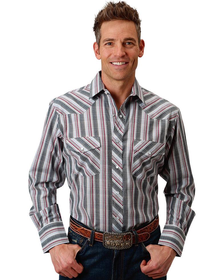 Roper Men's Grey Plaid Snap Long Sleeve Western Shirt, Grey, hi-res