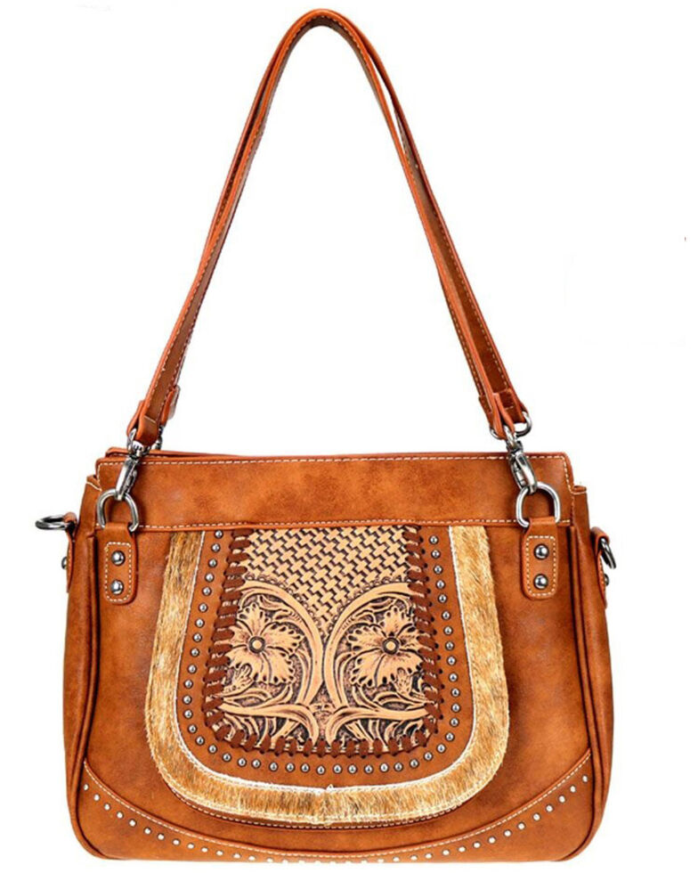 Trinity Ranch Women's Brown Tooled Hair-On Leather Tote/Crossbody, Brown, hi-res