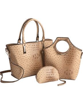 Wear N.E. Wear Women's Ostrich Print 3 Piece Bag Set, Beige/khaki, hi-res