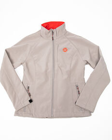 HOOey Women's Softshell Red Trim Jacket, Grey, hi-res