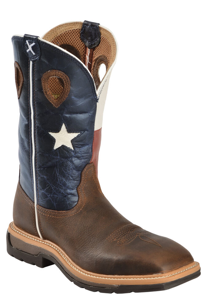 Twisted X Lite Men's Texas Flag Pull-On Work Boots - Steel Toe, , hi-res