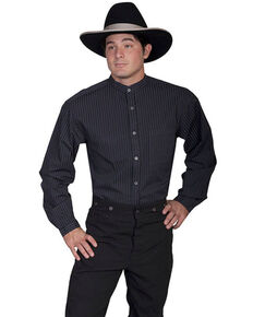 WahMaker By Scully Men's Black Striped Button Long Sleeve Western Shirt - Big , Black, hi-res