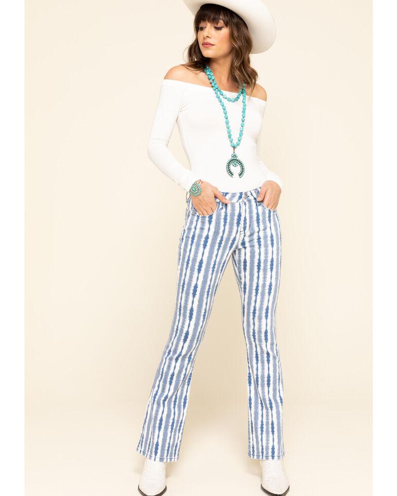 Billy T Women's Blue Tie-Dye Bootcut Jeans , Blue, hi-res