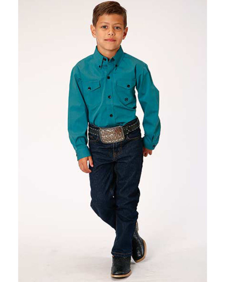 Roper Boys' Amarillo Cool Pines Teal Solid Long Sleeve Western Shirt , Turquoise, hi-res