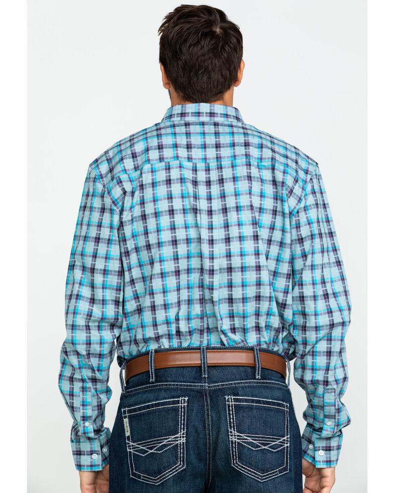 Cody James Core Men's Newberry Plaid Long Sleeve Western Shirt , Light Blue, hi-res