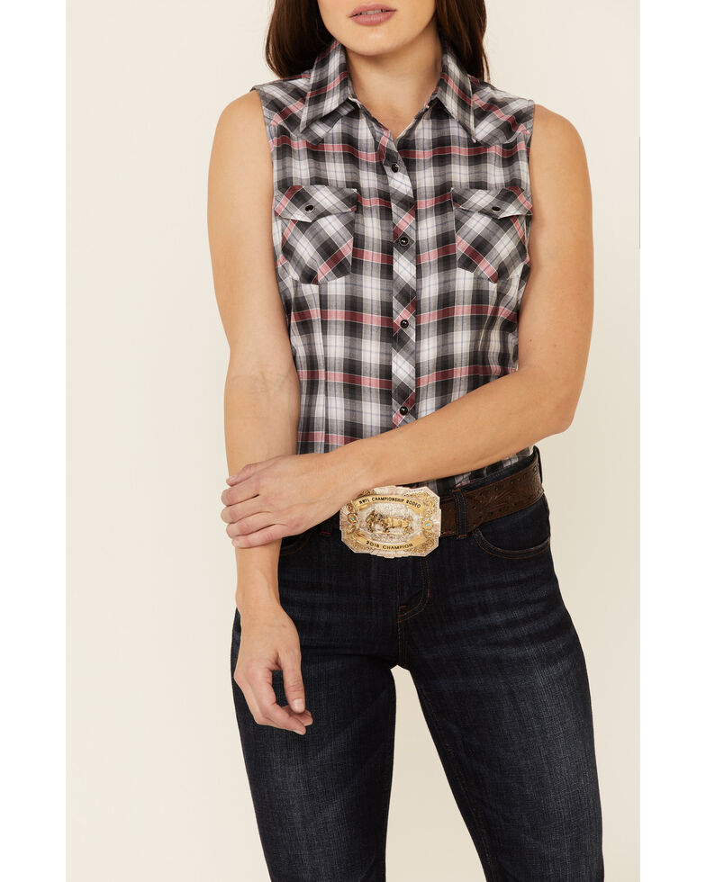 Roper Women's Classic Black Plaid Sleeveless Snap Western Core Shirt , Black, hi-res