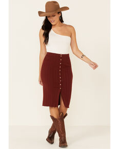 Shyanne Women's Chocolate Button Front Knit Midi Skirt, Chocolate, hi-res