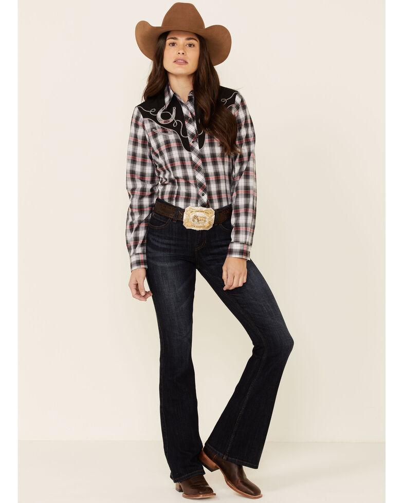 Roper Women's Classic Black Plaid Fancy Applique Long Sleeve Snap Western Shirt , Black, hi-res