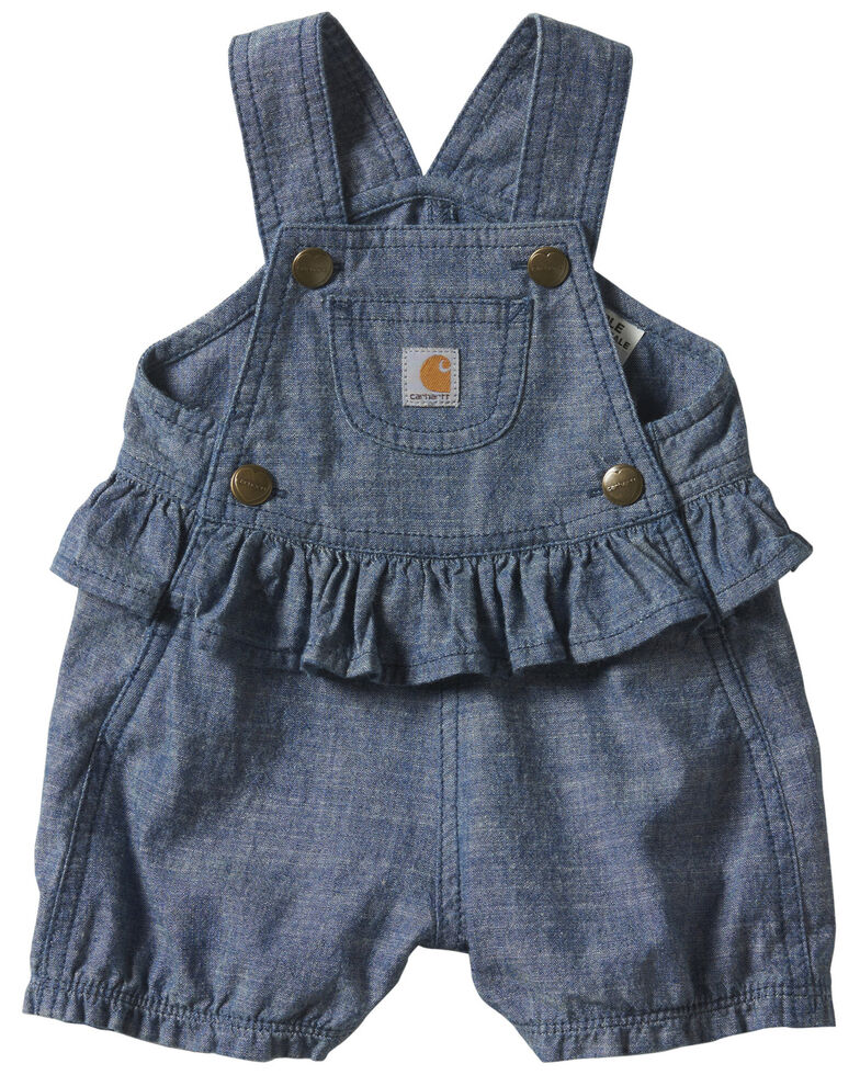 Carhartt Infant Girls' Chambray Ruffle Shortalls , Indigo, hi-res