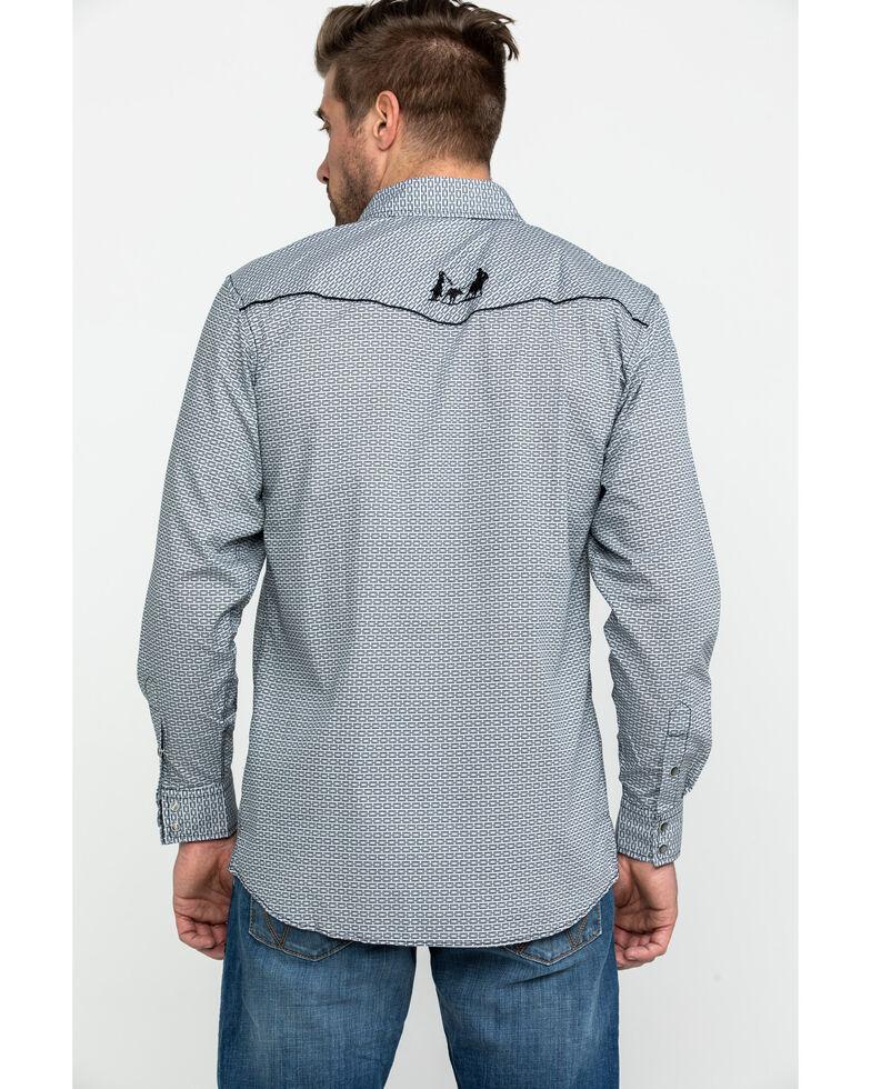 Cowboy Hardware Men's Brink Line Print Long Sleeve Western Shirt , Grey, hi-res