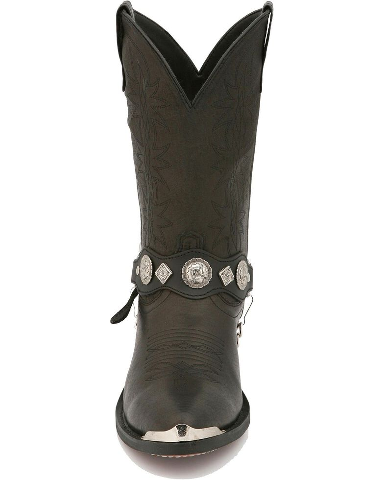 Dingo Concho Harness Cowboy Boots - Medium Toe, Black, hi-res