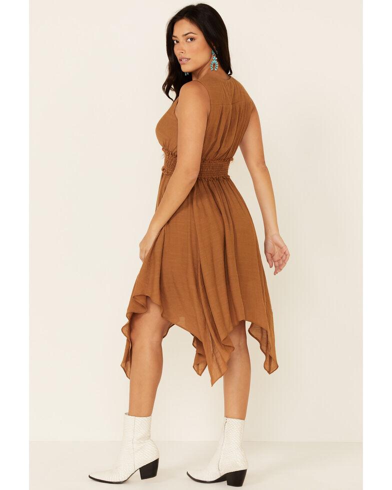 Wishlist Women's Surplice Hanky Hem Dress, Cognac, hi-res