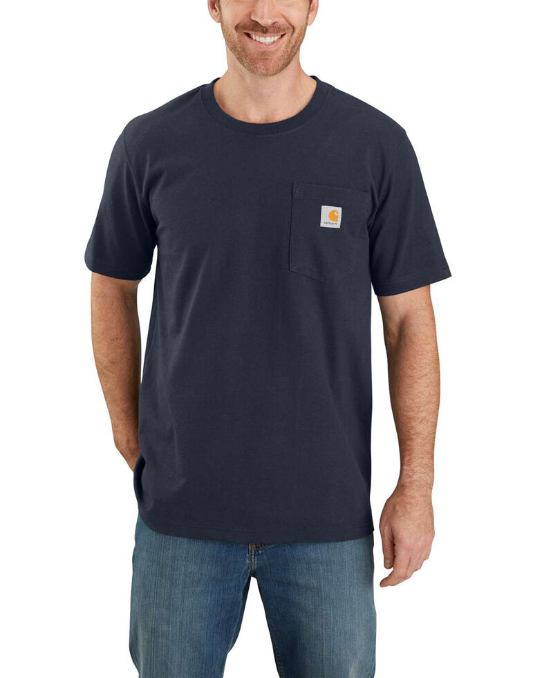 Carhartt Men's Navy Heavyweight Rugged Graphic Pocket Short Sleeve Work T-Shirt, Navy, hi-res