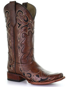 Circle G Women's Brown Embroidery Western Boots - Square Toe, Brown, hi-res