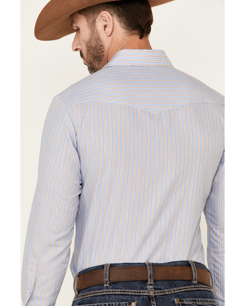 Roper Men's Classic Blue Stripe Long Sleeve Snap Western Shirt , Blue, hi-res