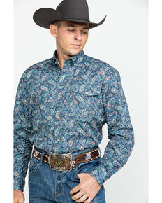 Roper Men's Amarillo Normandy Paisley Print Long Sleeve Western Shirt , Blue, hi-res