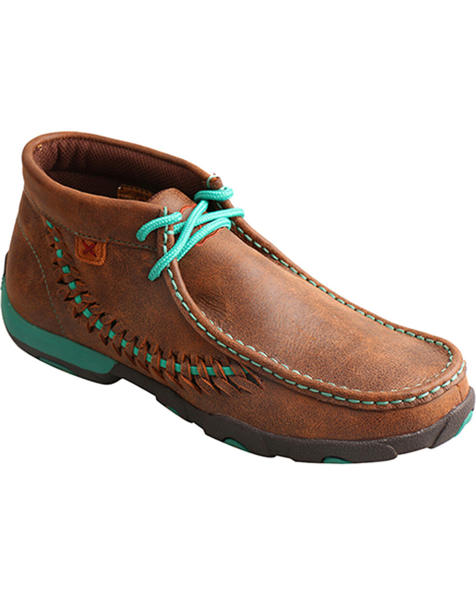 Twisted X Women's Brown Turquoise Driving Mocs - Moc Toe, Brown, hi-res