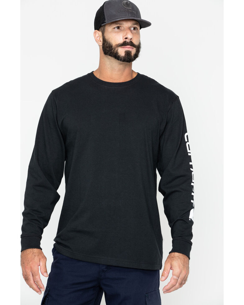 Carhartt Men's Signature Logo Sleeve Knit Work T-Shirt - Big & Tall, Black, hi-res