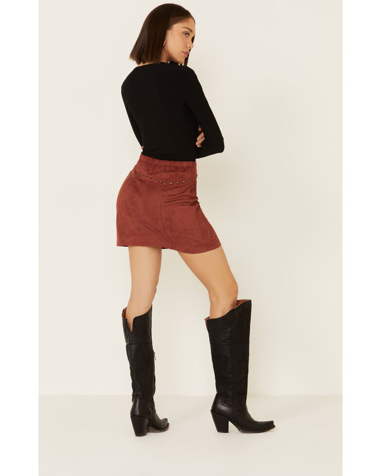 Rock & Roll Denim Women's Rust Suede Lace-Up Skirt, Rust Copper, hi-res