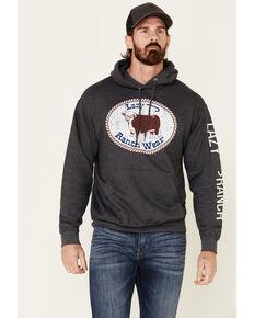 Lazy J Ranch Wear Men's Charcoal Buckle Patch Graphic Hooded Sweatshirt , Dark Grey, hi-res