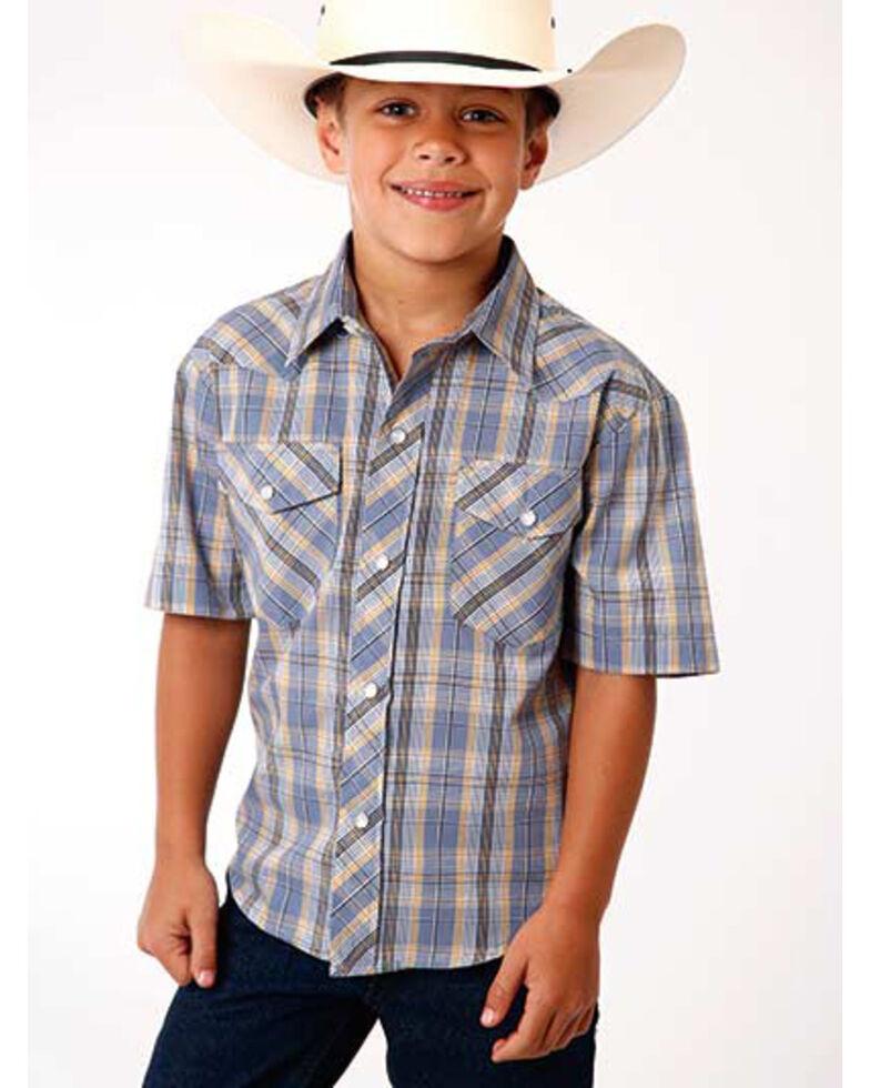 Roper Boys' Classic Grey Plaid Short Sleeve Western Shirt , Grey, hi-res