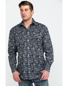 Rough Stock By Panhandle Men's Verano Paisley Print Long Sleeve Western Shirt , Black, hi-res