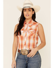 Ely Walker Women's Coral Plaid Sleeveless Snap Western Core Shirt , Coral, hi-res