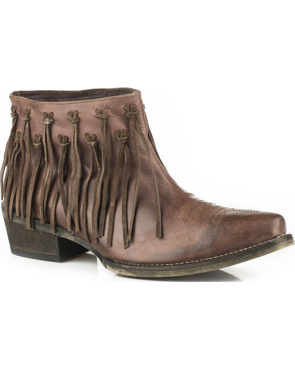 Roper Women's Brown Burnished Leather Fringe Western Booties - Snip Toe, Brown, hi-res