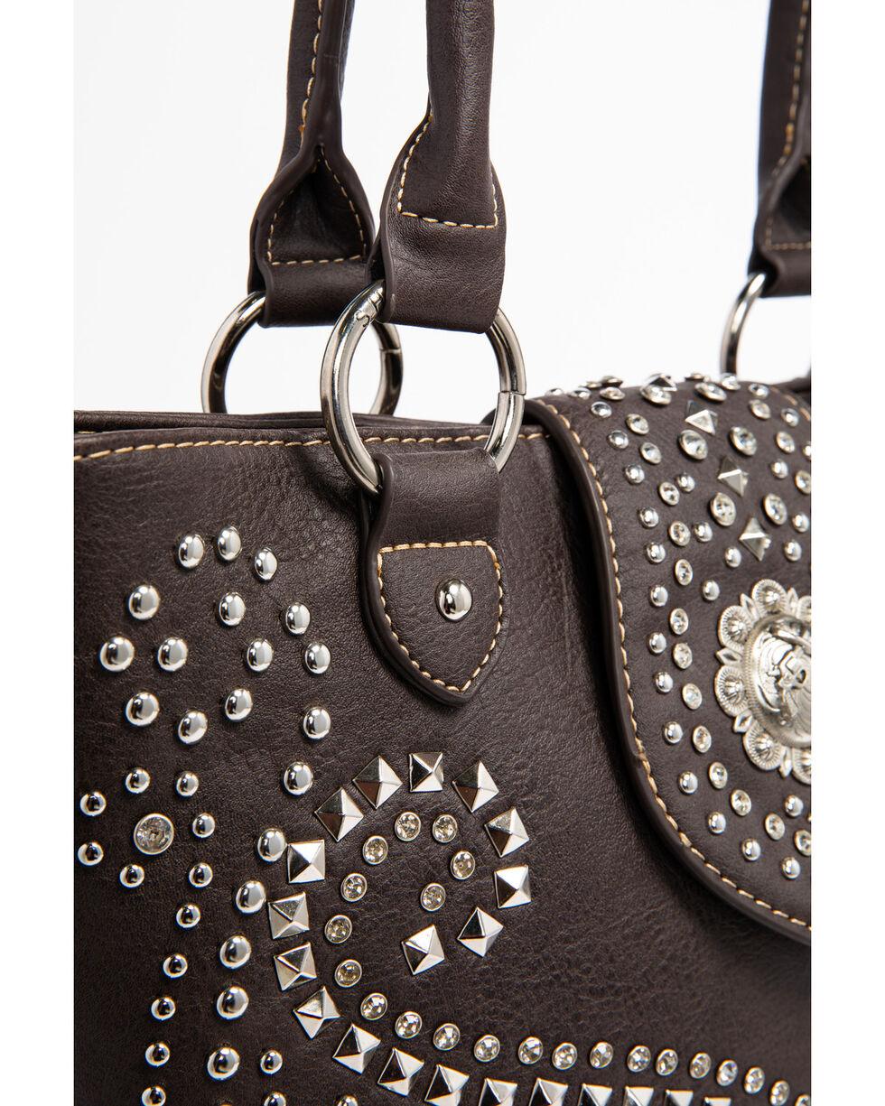 Shyanne Women's Rhinestone Swirl Concealed Carry Tote, Dark Brown, hi-res