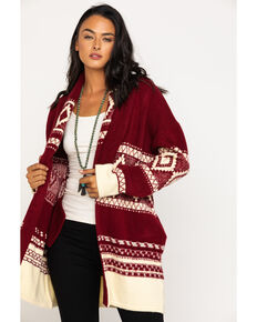 Miss Me Women's Aztec Diamond Cardigan , Burgundy, hi-res