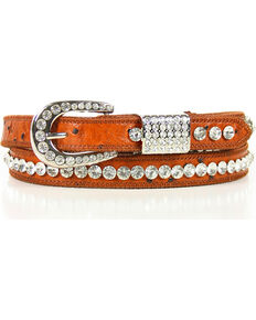Shyanne Women's Skinny Rhinestone Belt, Brown, hi-res