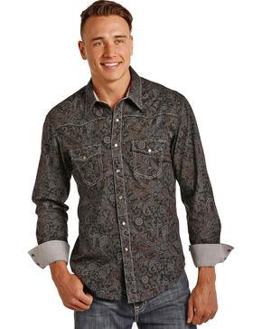 Rock & Roll Cowboy Men's Poplin Paisley Print Shirt , Grey, hi-res