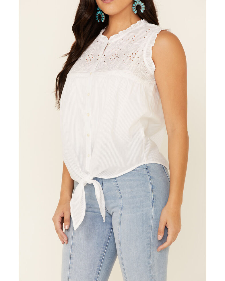 Cotton & Rye Outfitters Women's White Eyelet Tie-Front Sleeveless Top , White, hi-res