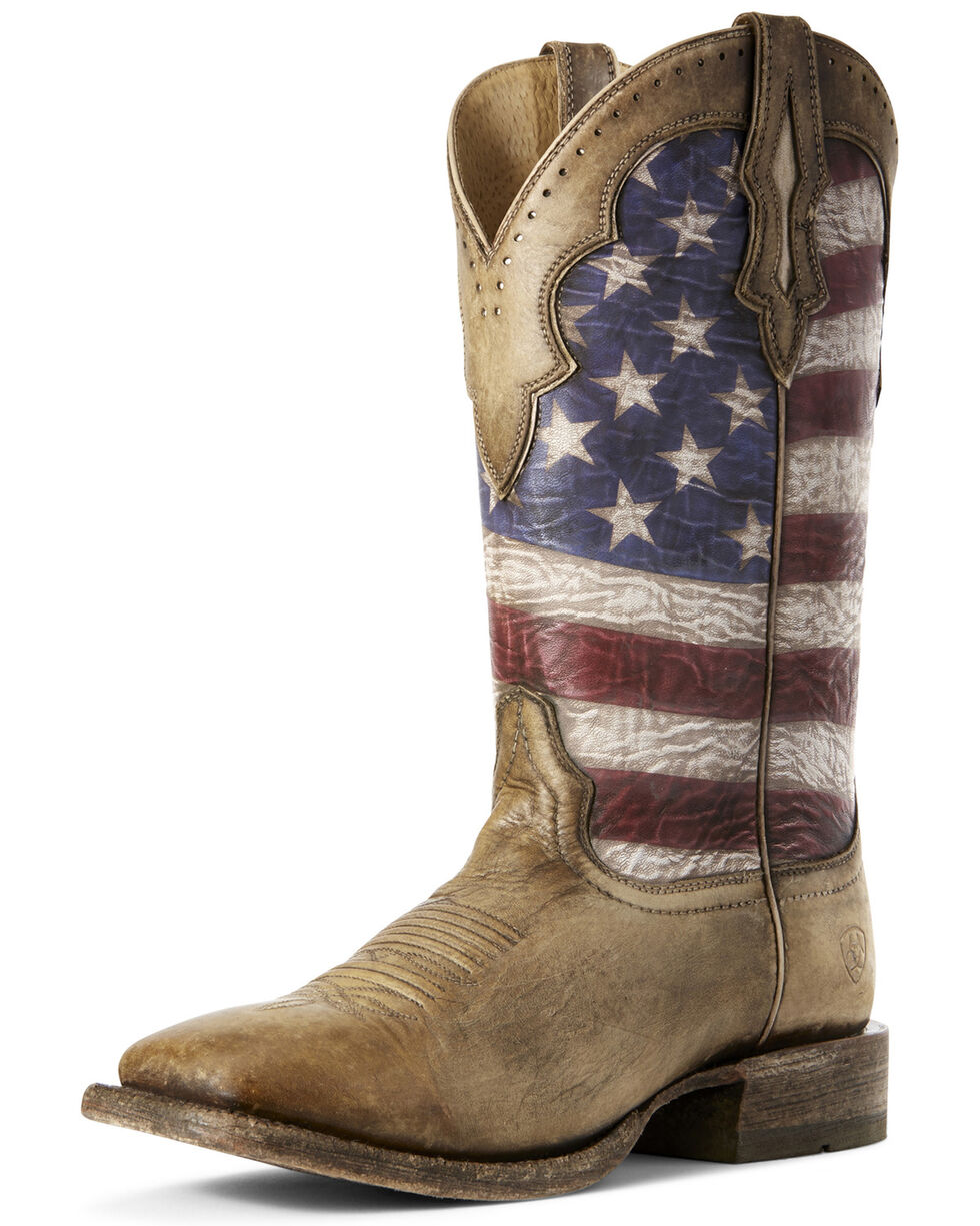 Ariat Men's Ranchero American Flag Western Boots - Wide Square Toe, Brown, hi-res