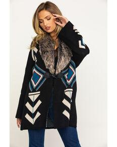 Joseph Studio Women's Aztec Fur Collar Cardigan, Black, hi-res