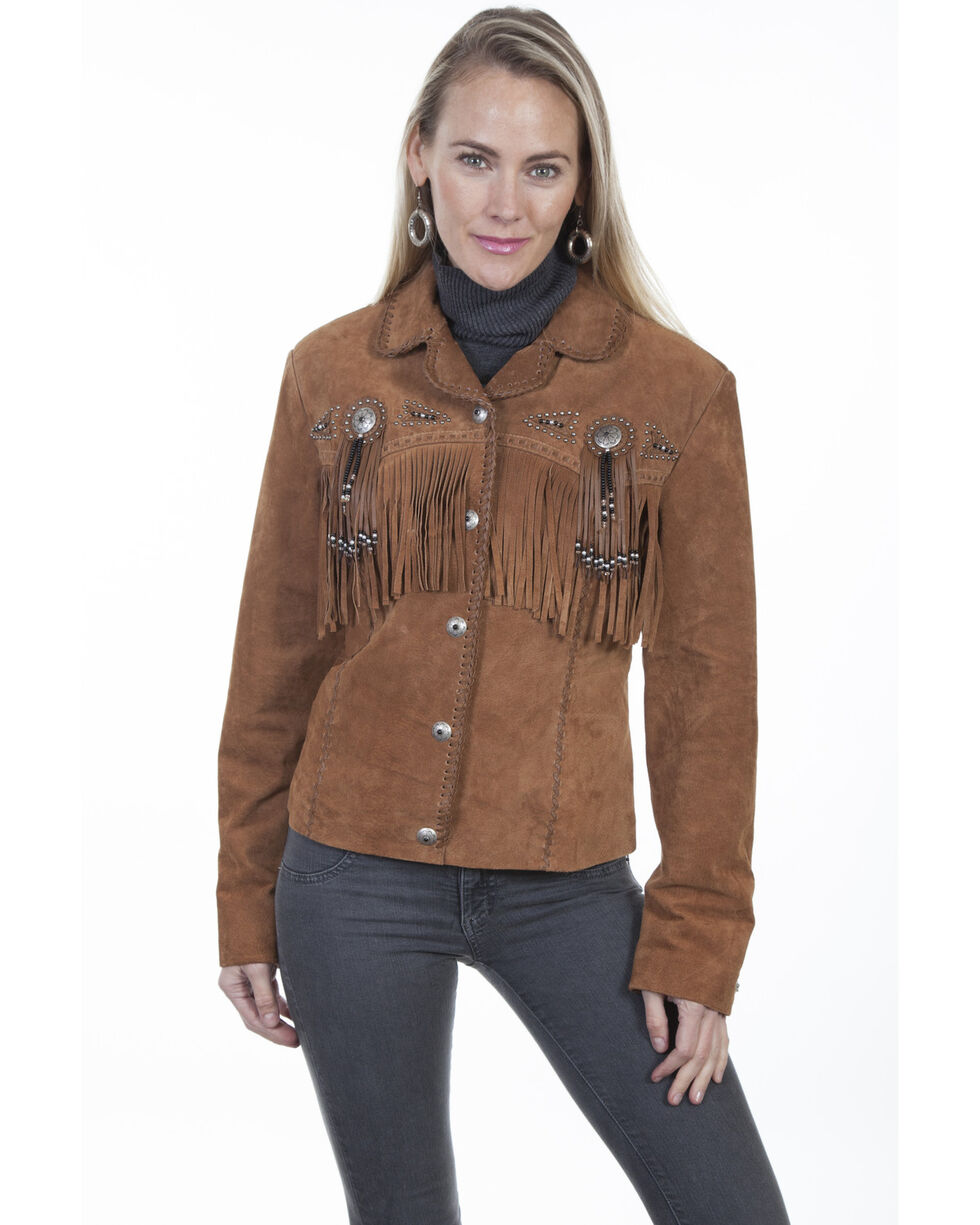 Scully Beaded Fringe Boar Suede Jacket, Brown, hi-res