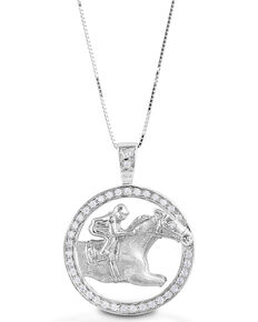 Kelly Herd Women's Circle Race Horse Necklace , Silver, hi-res