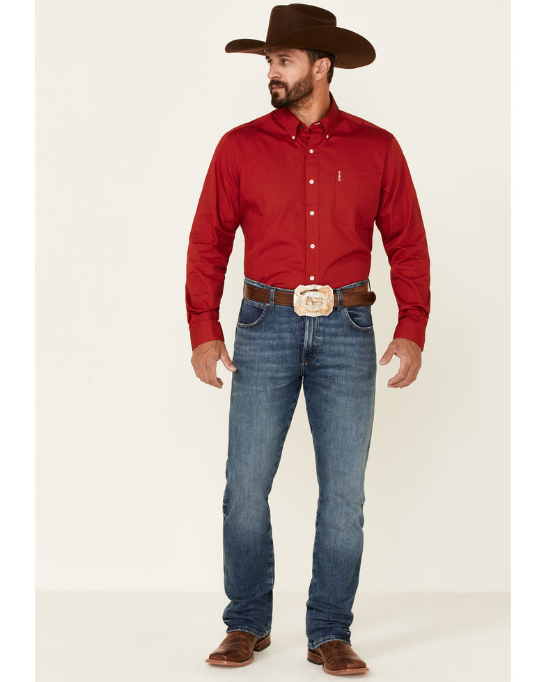 Cinch Men's Modern Fit Solid Red Long Sleeve Button-Down Western Shirt , Red, hi-res
