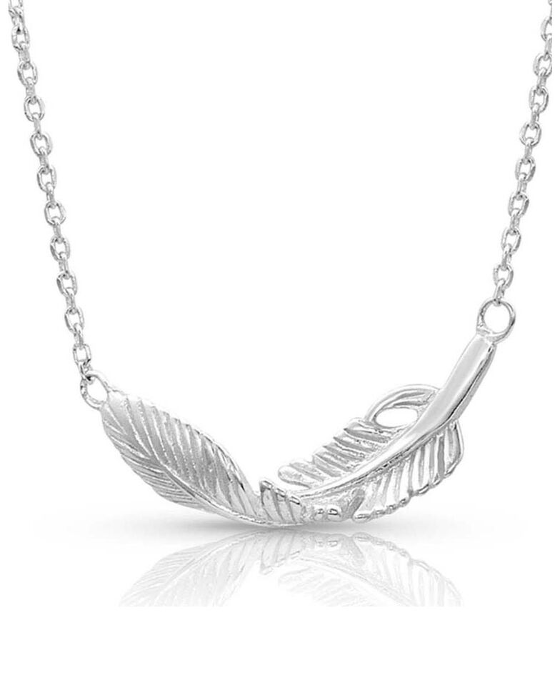 Montana Silversmiths Women's Turning Feather Pendant Necklace, Silver, hi-res
