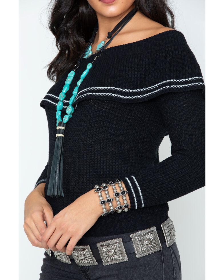 BB Dakota Women's Ruffle Sweater, Black, hi-res