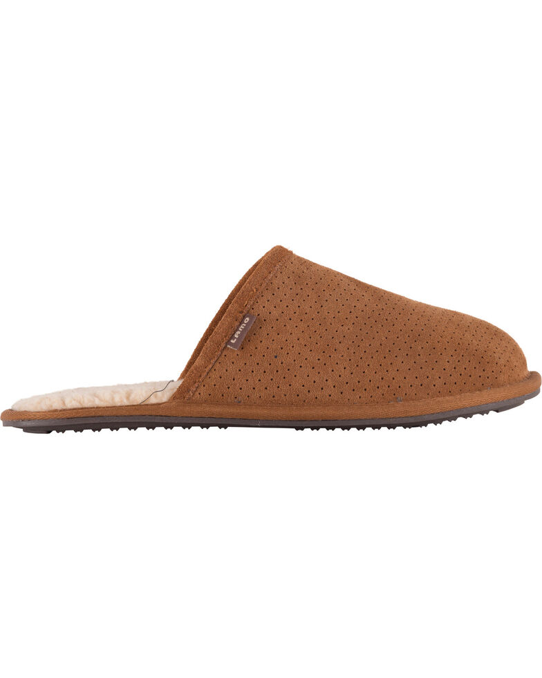 Lamo Footwear Men's Landon Suede Scuffs, Chestnut, hi-res