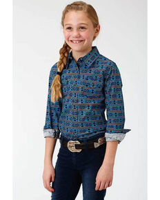 West Made Girls' Aztec Print Snap Long Sleeve Western Shirt , Turquoise, hi-res