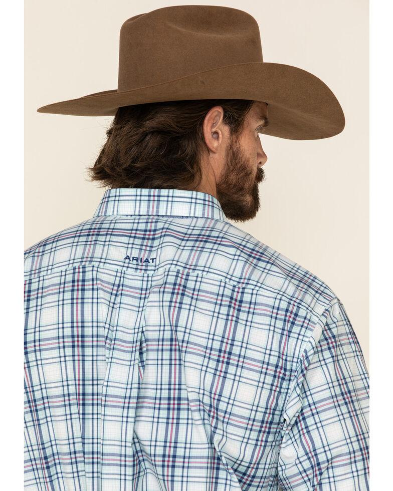 Ariat Men's Gomes Med Plaid Long Sleeve Western Shirt - Tall , Light Blue, hi-res