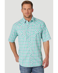 Wrangler 20X Men's Advanced Comfort Small Green Plaid Short Sleeve Western Shirt , Green, hi-res