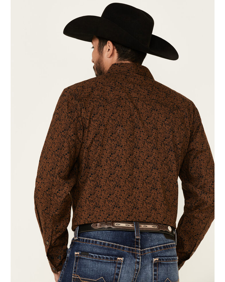 Cinch Men's Modern Fit Brown Floral Print Long Sleeve Western Shirt , Brown, hi-res