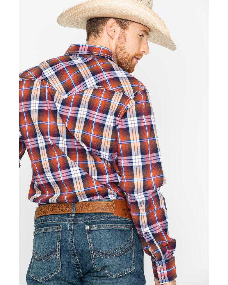 Wrangler Retro Men's Rust Plaid Long Sleeve Western Shirt , Rust Copper, hi-res