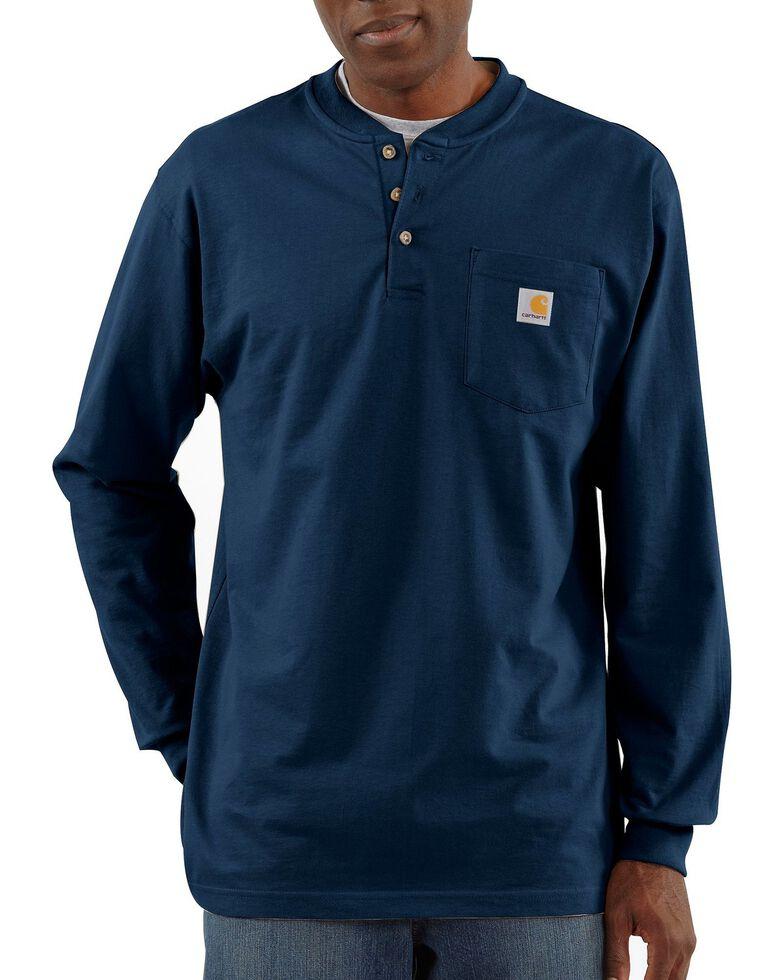 Carhartt Long Sleeve Work Henley Shirt, Navy, hi-res