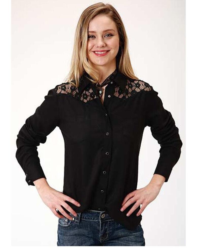 Roper Women's Black Lace Long Sleeve Western Shirt , Black, hi-res