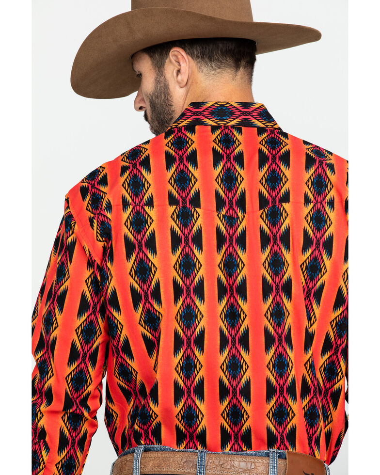 Wrangler Men's Silver Edition Orange Aztec Checotah Print Long Sleeve Western Shirt , Orange, hi-res