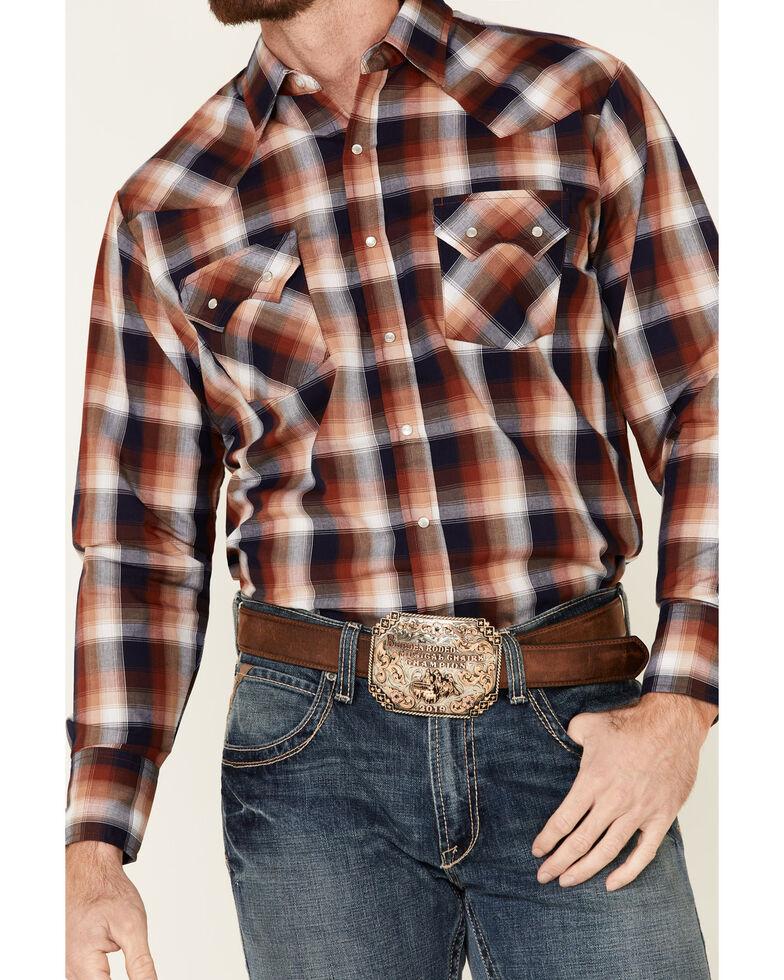 Ely Walker Men's Rust Small Plaid Long Sleeve Western Shirt - Big , Rust Copper, hi-res